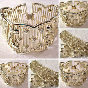 Sarah Conventry Open Rib Chain Link Bracelet Gold